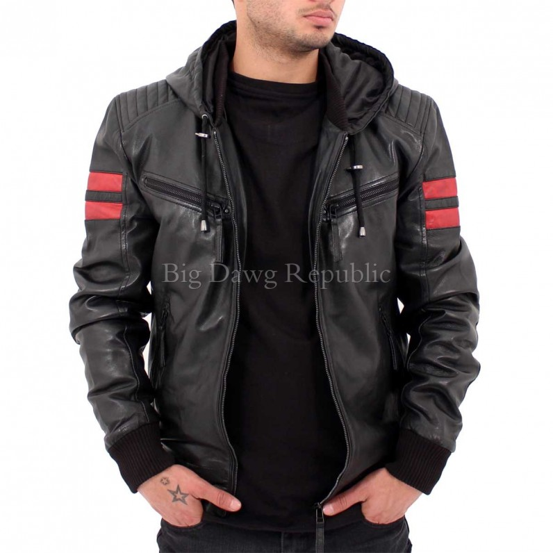Remy Black Hooded Racing Leather Jacket