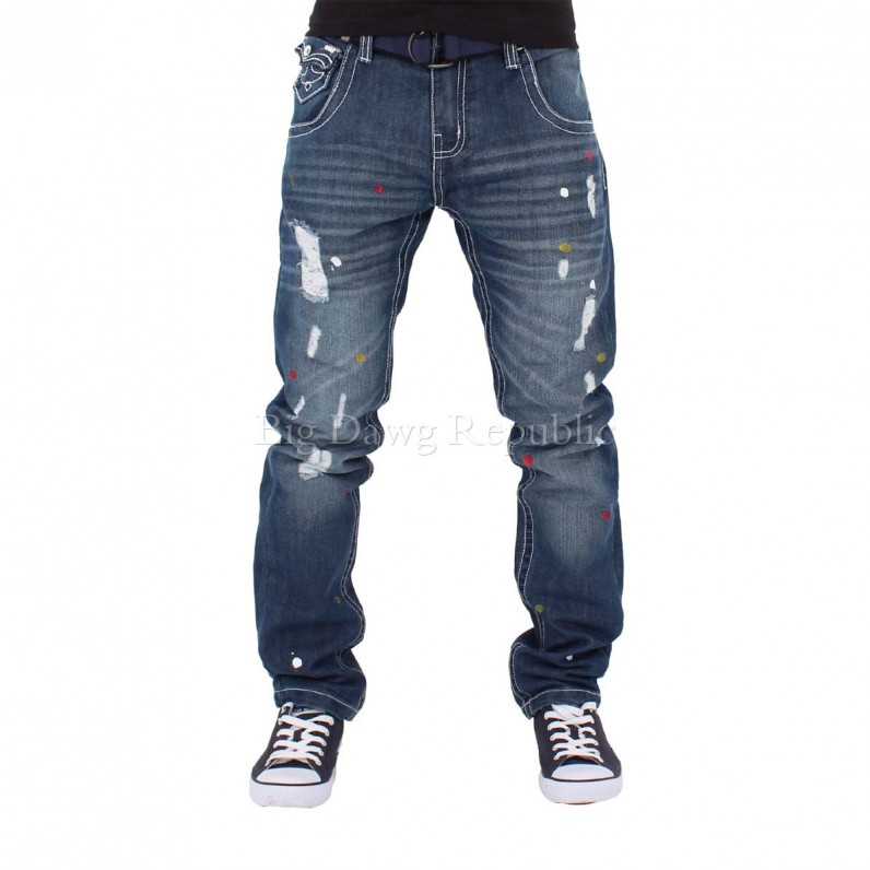 Edmunson Multi Paint Ripped Frayed Jeans