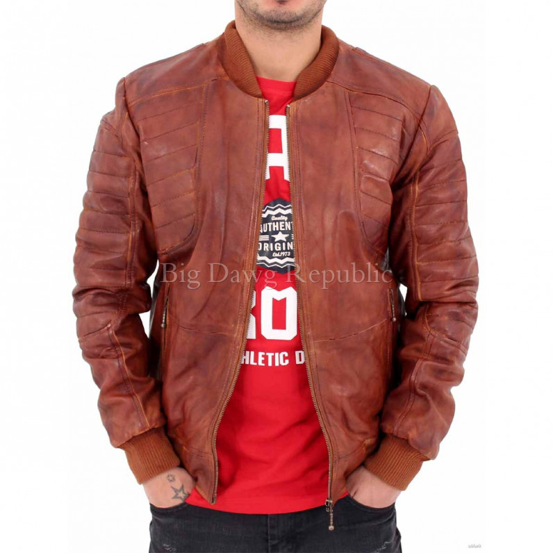 2455 Quilted Bomber Vintage Leather Jacket