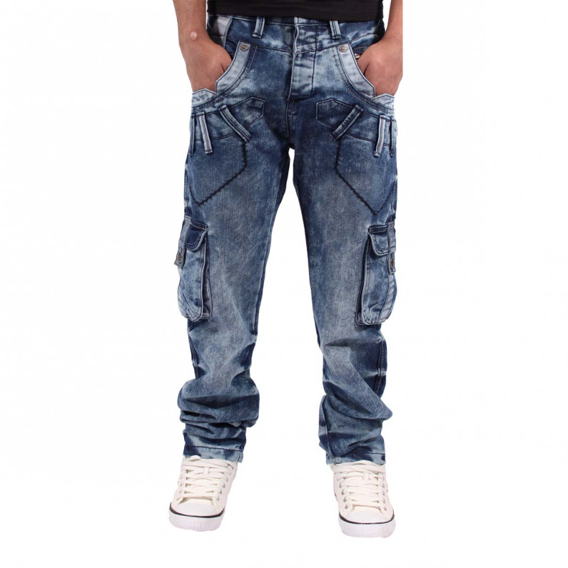Men's Ice Blue Stafford Cargo Combat Denim Jeans