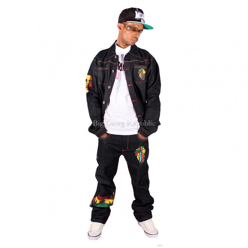 Rasta One Love Hip Hop Denim Jean & Jacket Set