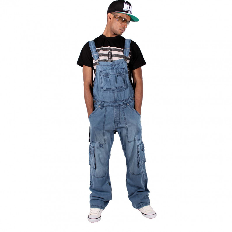 Willington Stone Wash Blue Denim Dungarees