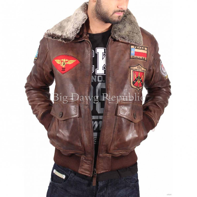 Nevada Brown Bugatti Pilot Flying Leather Jacket