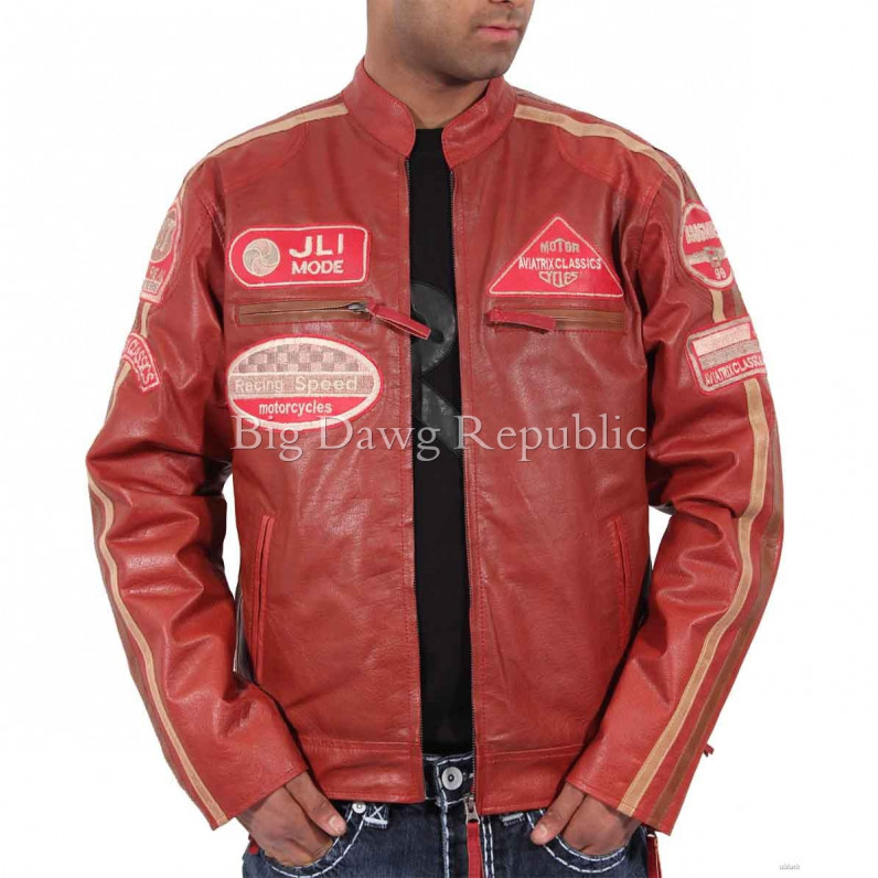 JLI Red Mode Retro Bikers Leather Jacket