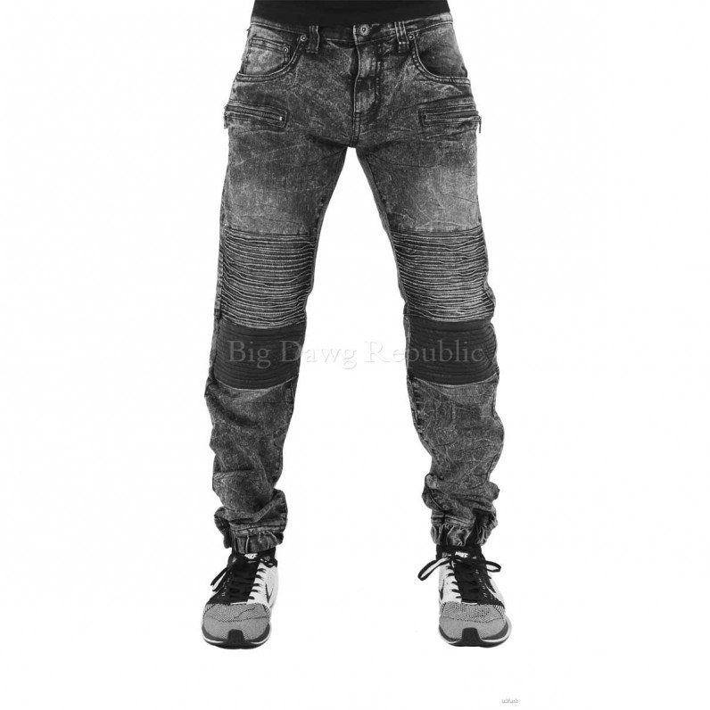 Black Alaska Star Biker Zip Jeans