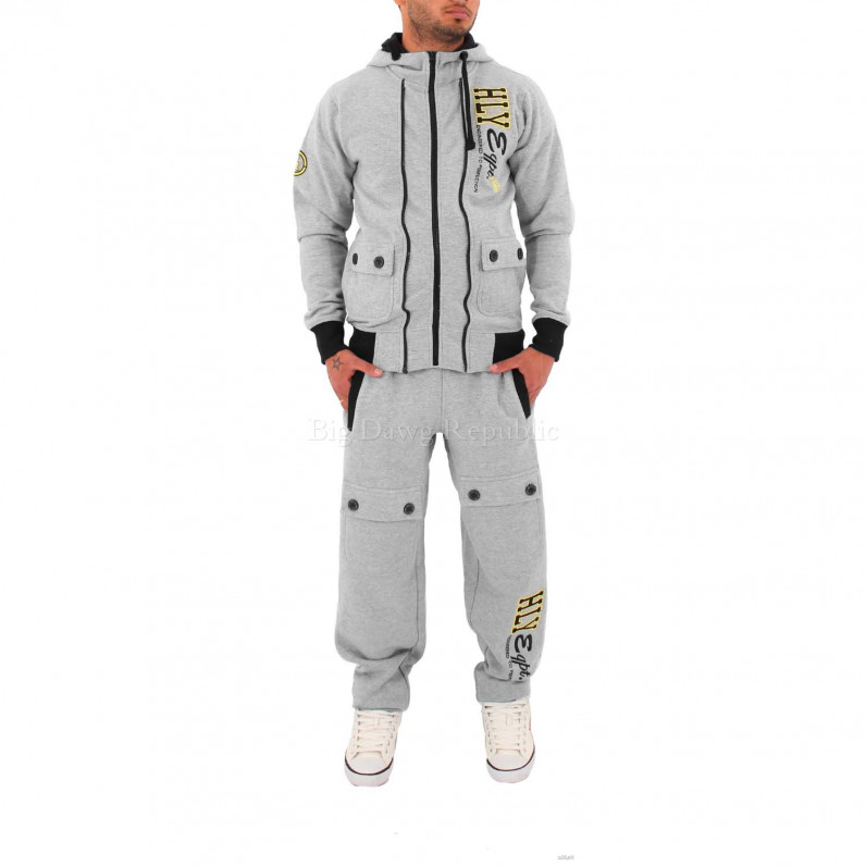 Full Zip Up Hooded Grey Tracksuit