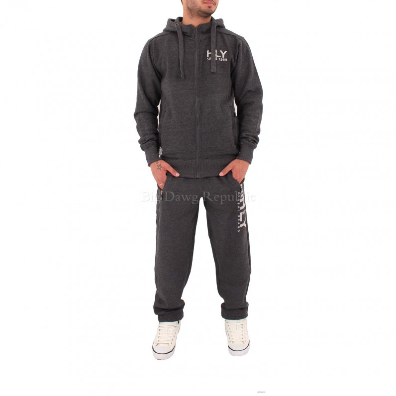 Zip Up Hooded Charcoal Grey Tracksuit