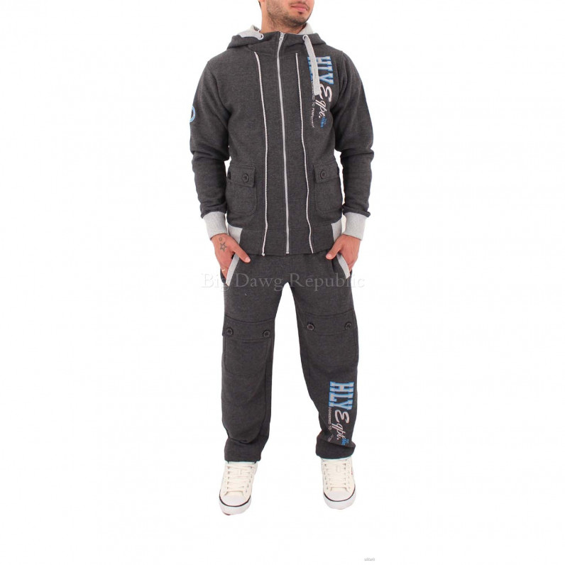 Full Zip Up Hooded Charcoal Grey Tracksuit