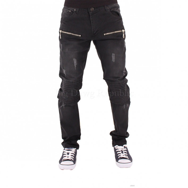 Black Biker Frayed Star Jeans