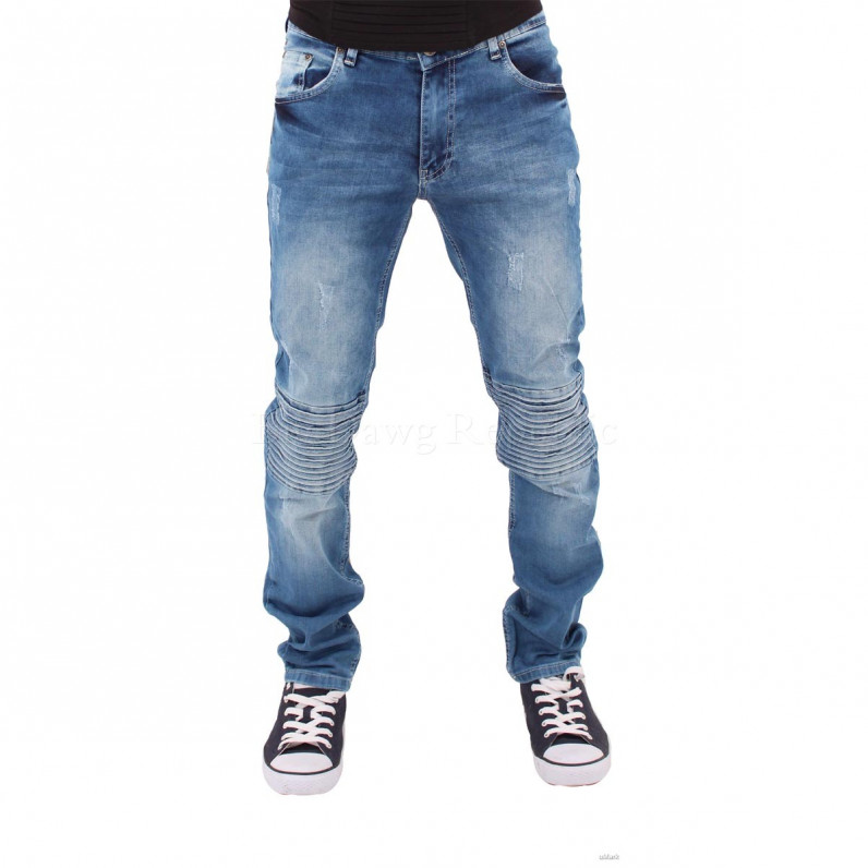 Stone Wash Blue Thick Rick Frayed Biker Jeans