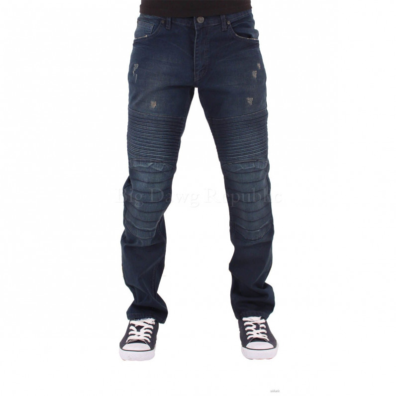 Dark Wash Blue Frayed Jeans