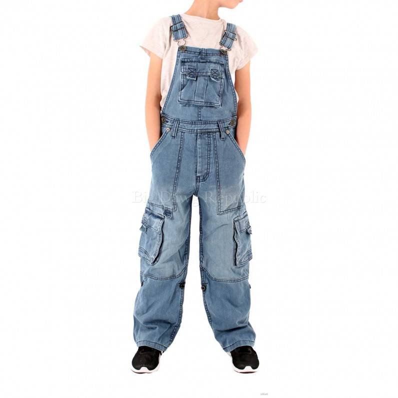 Boys Girls Denim Willington Stone Wash Blue Dungarees