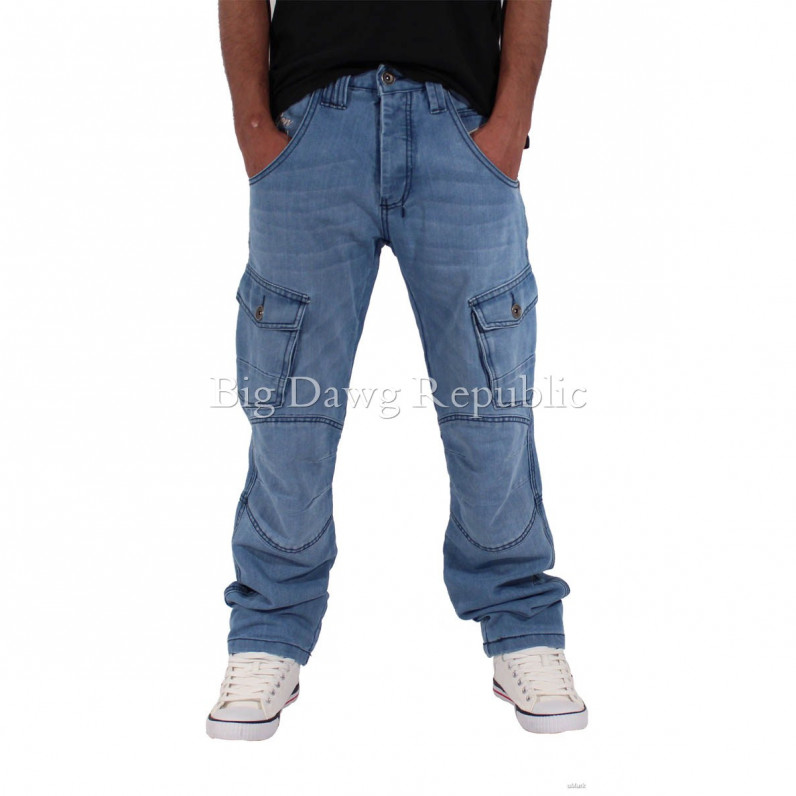 Men's Stonewash Blue Fenchurch Cargo Denim Jeans