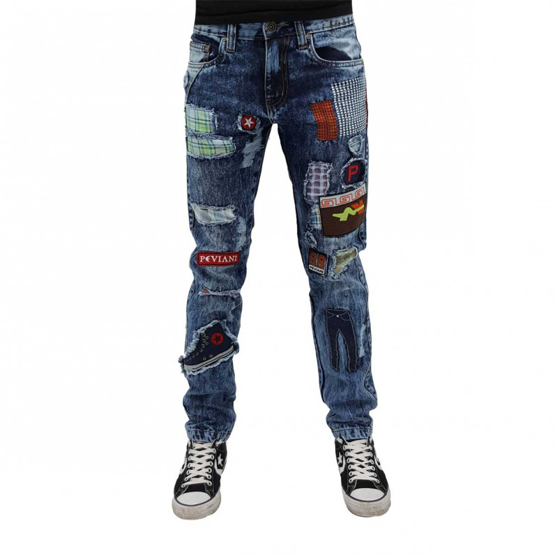 Mens Ripped Patch Star Manor Denim Jeans