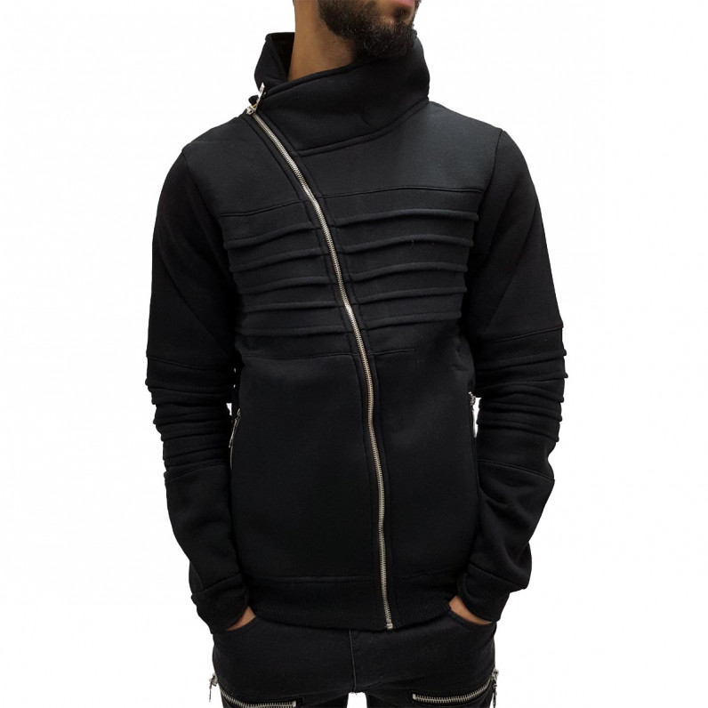 Black Turtle Neck Full Zip Up Sweater 1228