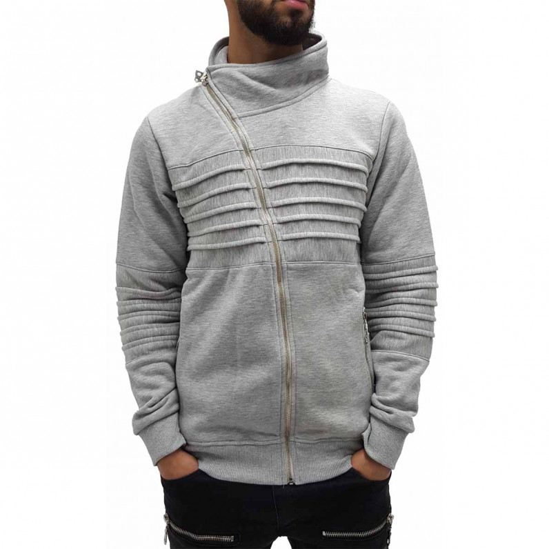 Men's Grey Turtle Neck Full Zip Up Sweater 1228