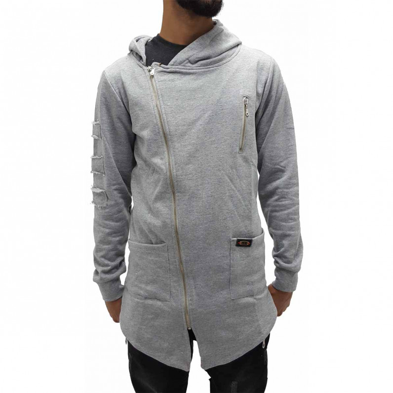 Grey Long Fishtail Zip Up Hoodie 1338