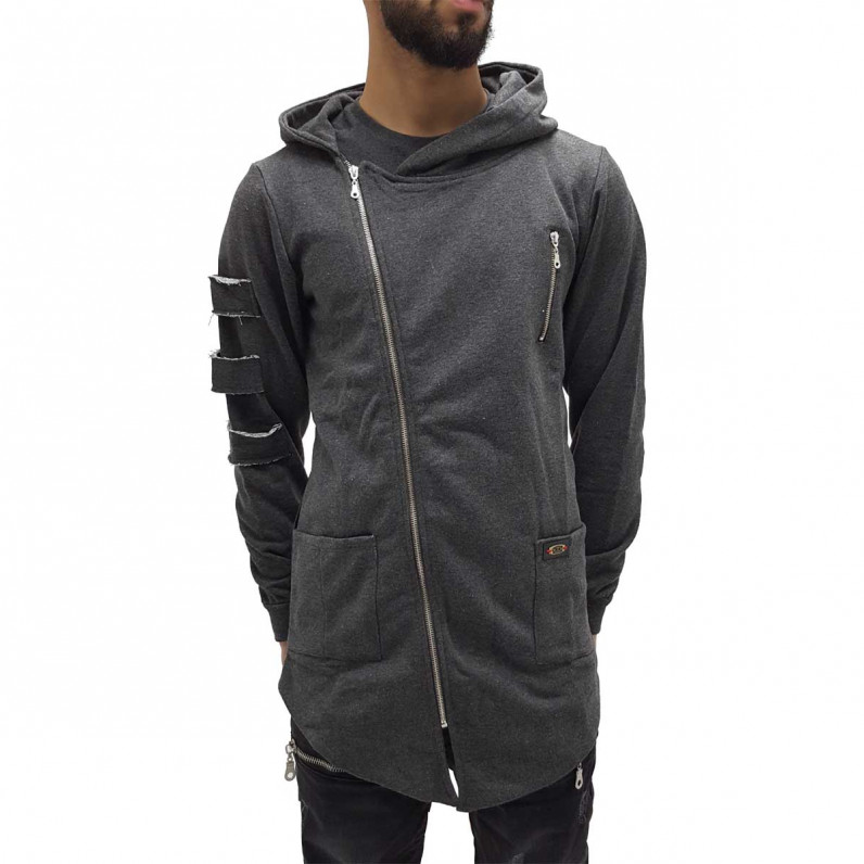 Charcoal Grey Long Fishtail Zip Up Hoodie 1338