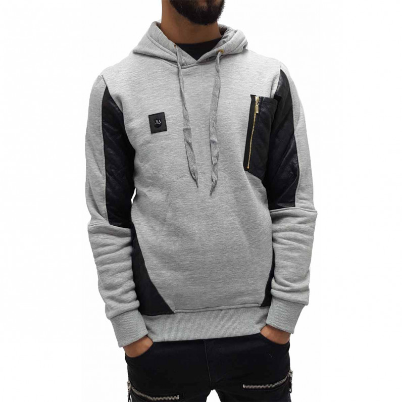 Men's Grey Long Fishtail Over Head Hoodie 1558
