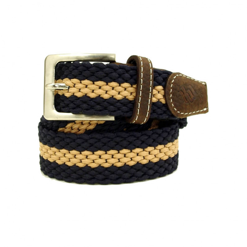 Blue Elastic Stretch Webbed Braided Belt