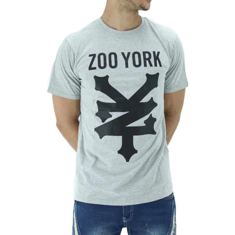 Grey Ramped Summer Graphic Print Cotton Tee Shirts