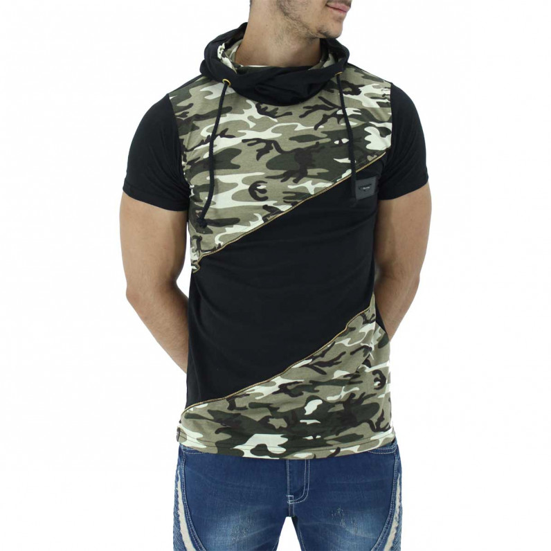 Black Summer Cotton Camouflage Hoodie T-Shirts