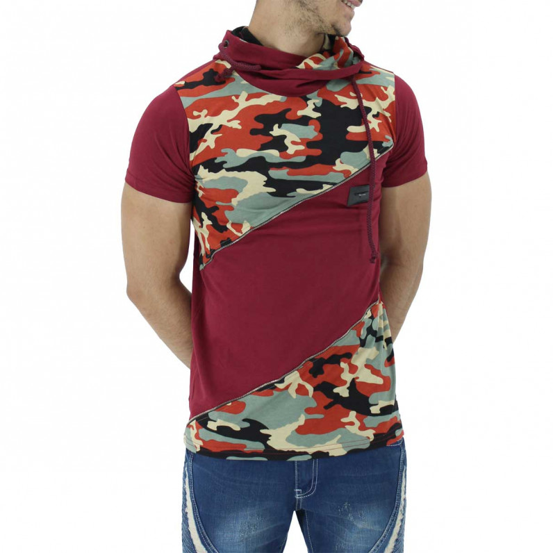 Red Summer Cotton Camouflage Hoodie T-Shirts