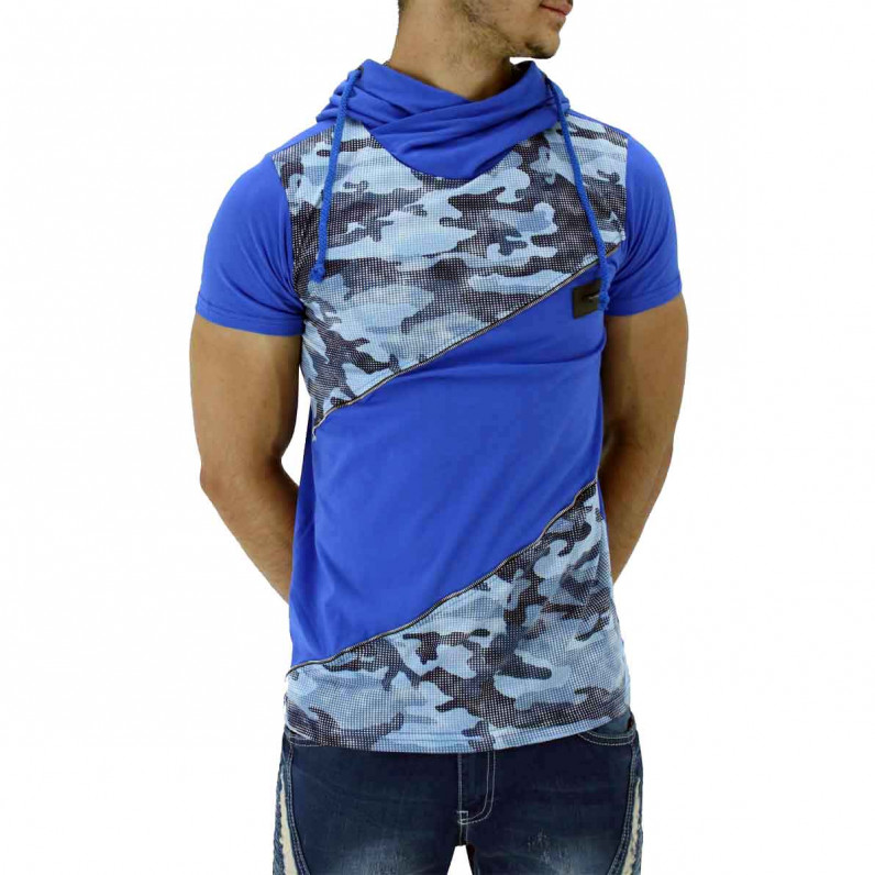 Blue Summer Cotton Camouflage Hoodie T-Shirts