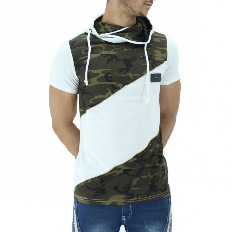 White Summer Cotton Camouflage Hoodie T-Shirts