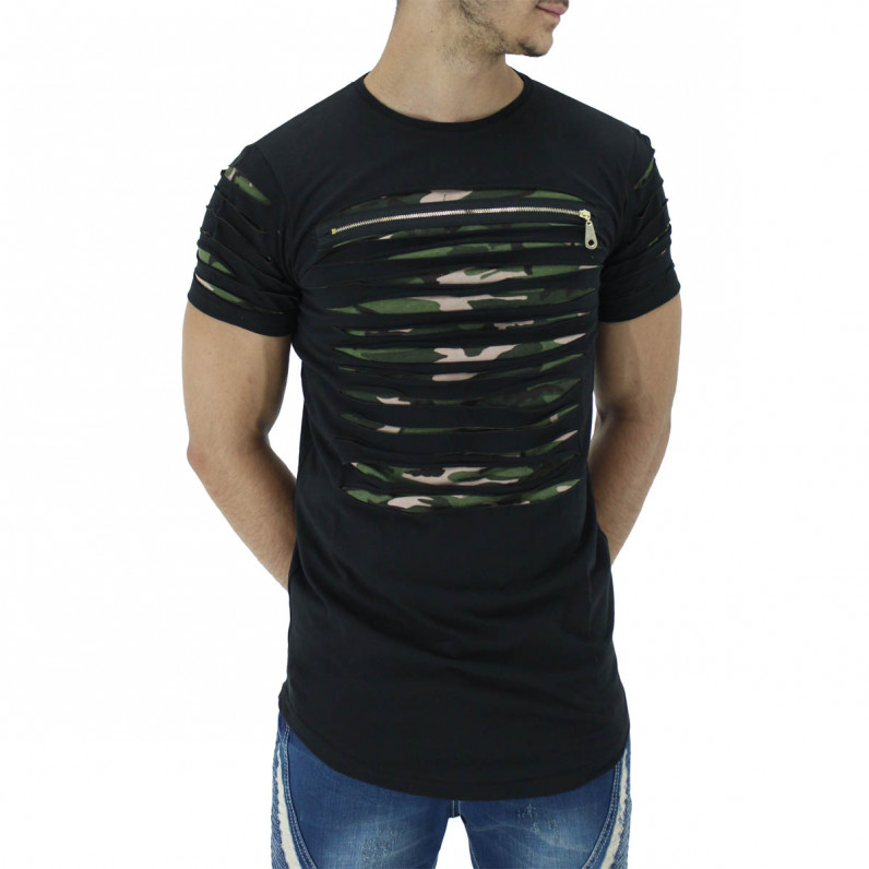 Black Summer Cotton Ripped Camouflage Long T-Shirts