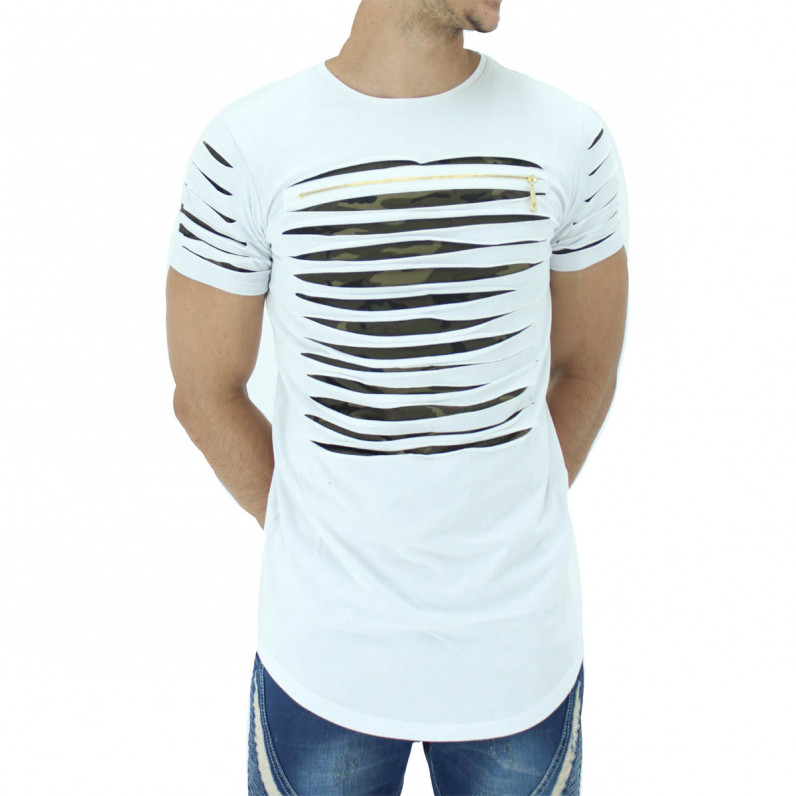 White Summer Cotton Ripped Camouflage Long T-Shirts