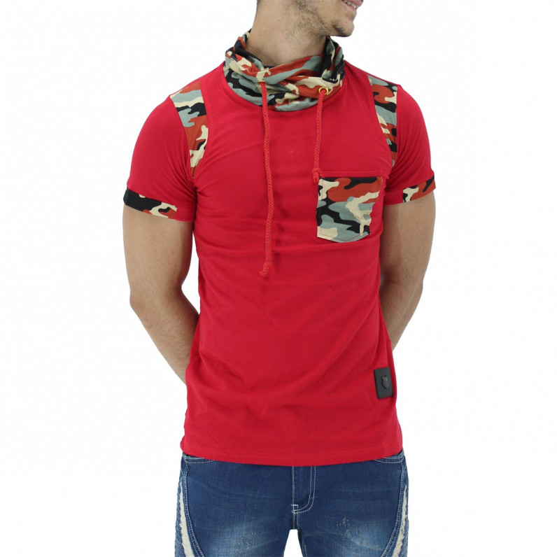 Red Summer Cotton Turtle Neck Camouflage T-Shirts