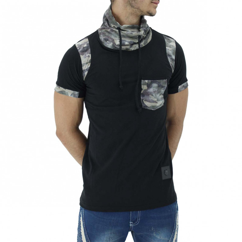 Black Summer Cotton Turtle Neck Camouflage T-Shirts