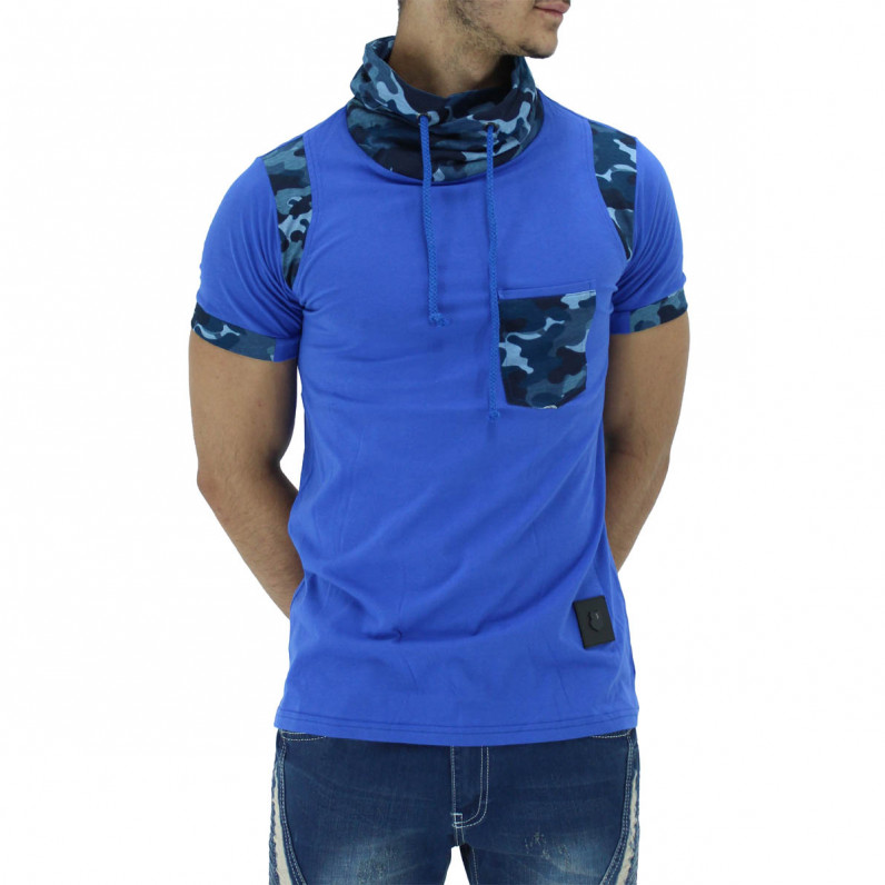 Blue Summer Cotton Turtle Neck Camouflage T-Shirts
