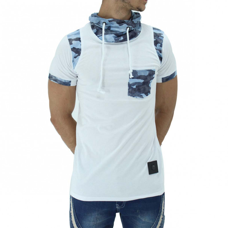 White Summer Cotton Turtle Neck Camouflage T-Shirts