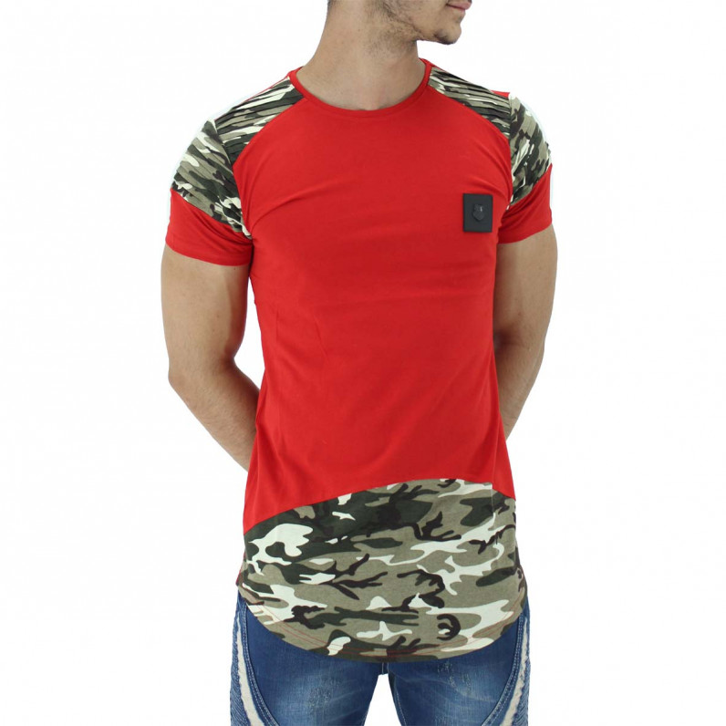 Red Summer Cotton Camouflage Long T-Shirts