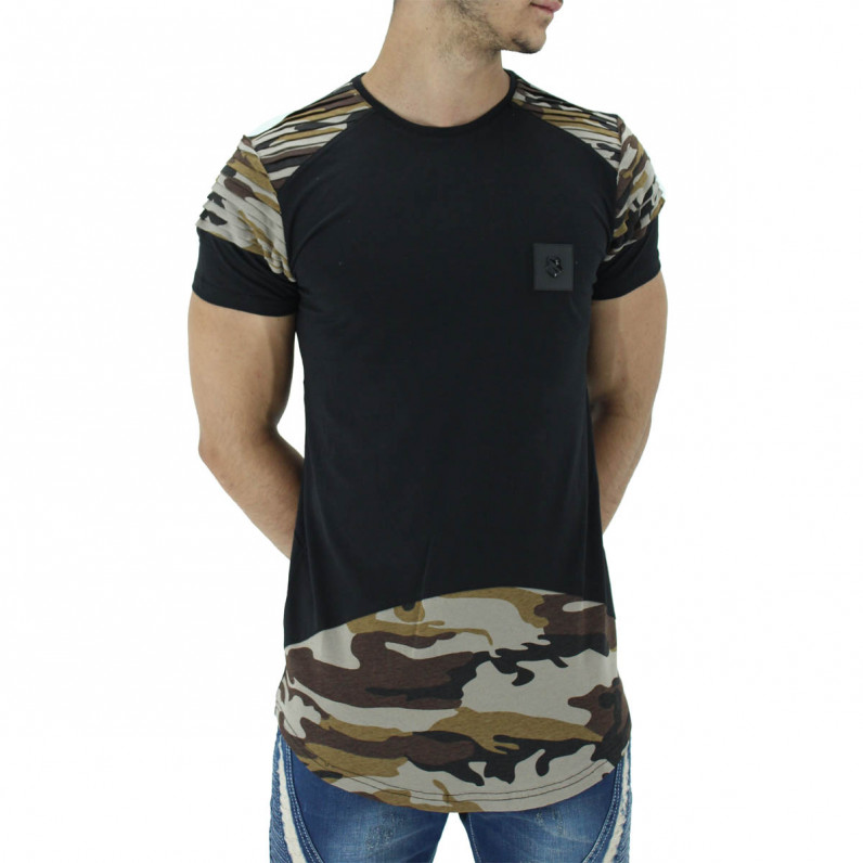 Black Summer Cotton Camouflage Long T-Shirts