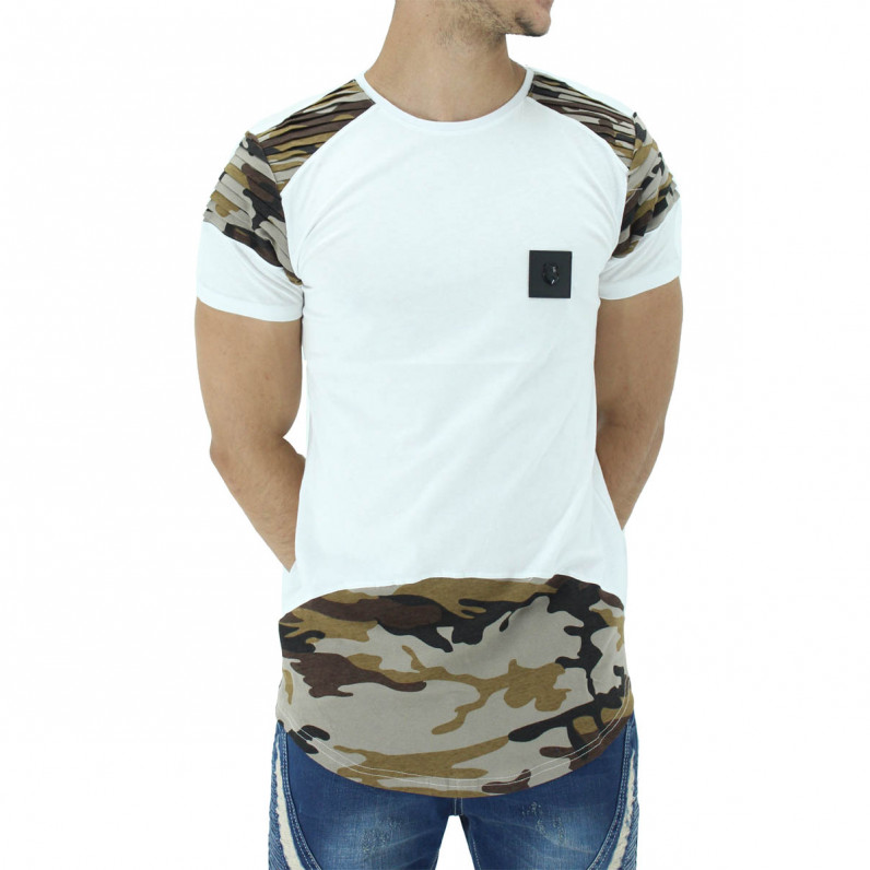 Brown White Summer Cotton Camouflage Long T-Shirts
