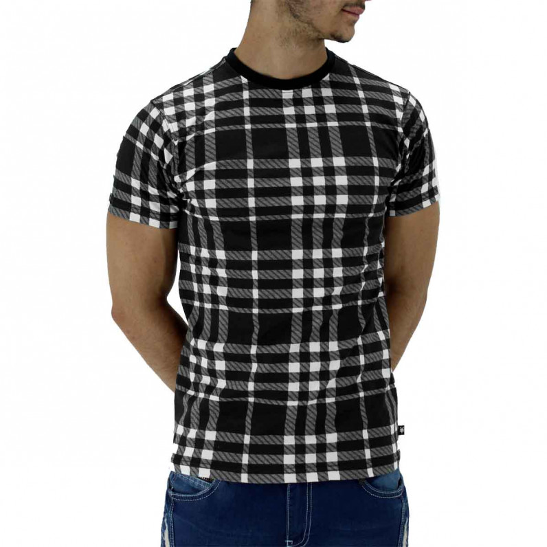 Men's Black Chequered Cotton Short Sleeve T-Shirt