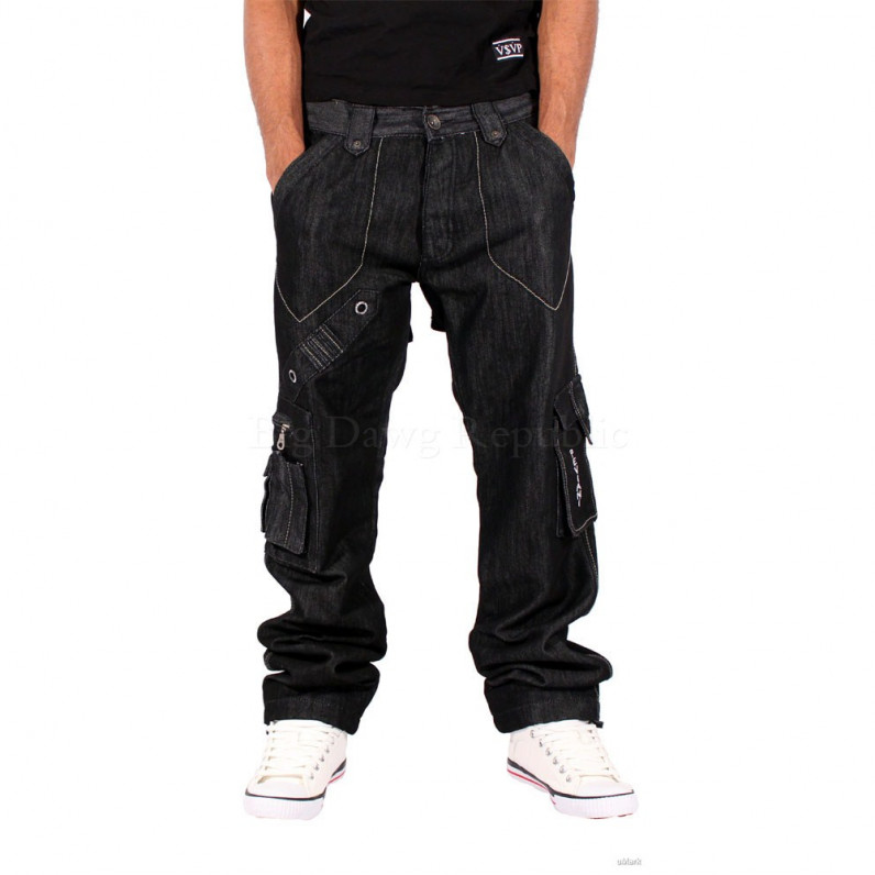 Black Cargo Combat Waterloo Denim Jeans