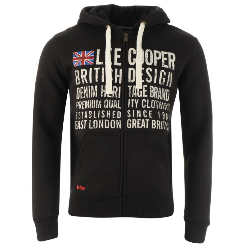 Black East London Zip Up Hoodie