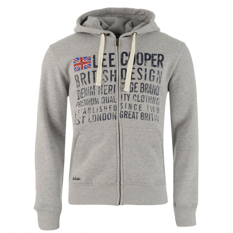 Grey East London Zip Up Hoodie