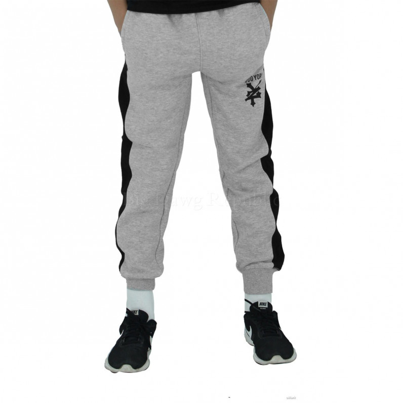 Boys Girls Grey Invert Slim Fit Fleece Jog Sweat Pants