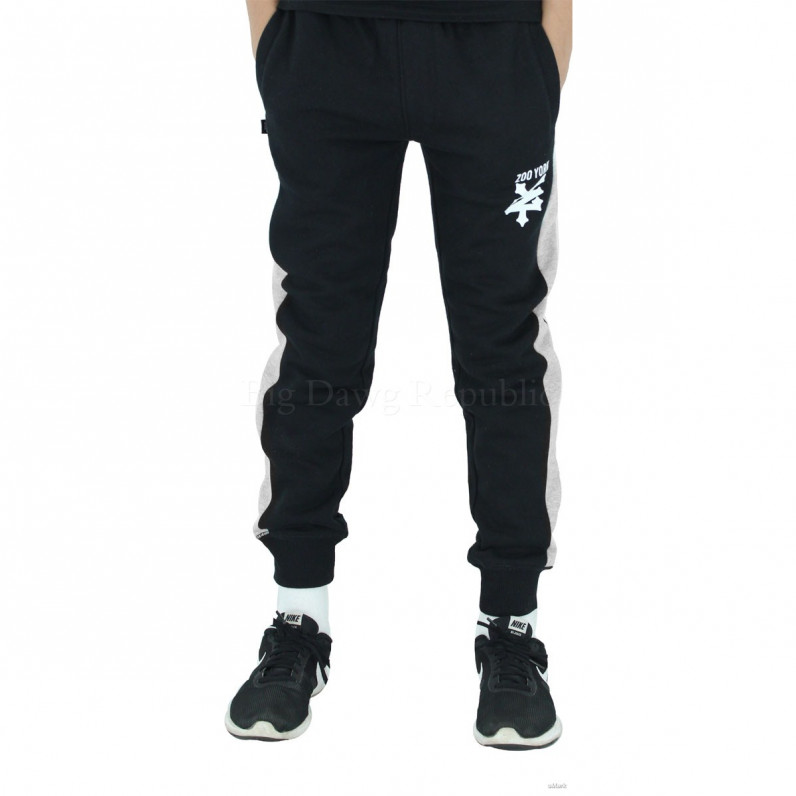Boys Girls Black Invert Slim Fit Fleece Jog Sweat Pants