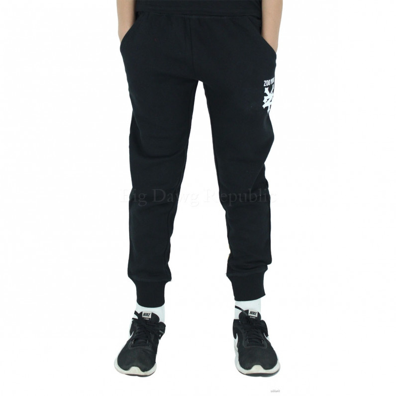 Boys Girls Black Davidino Slim Fit Fleece Jog Sweat Pants