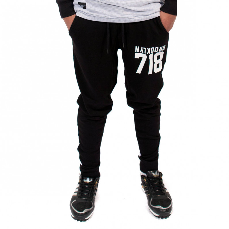 Black 718 Gold Slim Fit Jog Sweat Pants