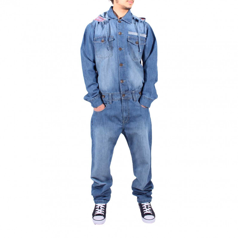 Stone Wash Blue Denim Onesie Jumpsuit