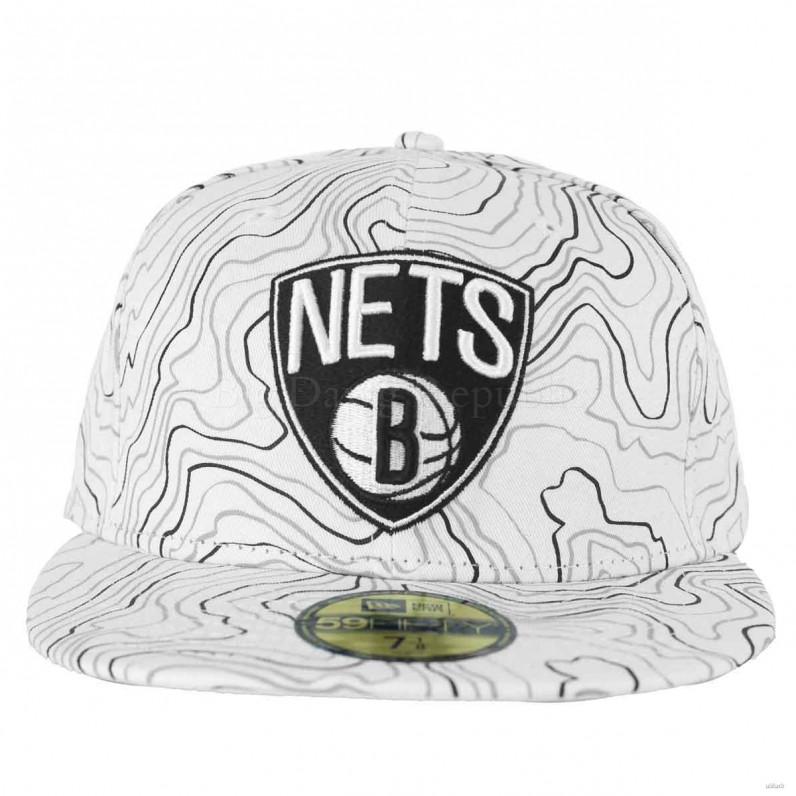 New Era NBA 59Fifty Brooklyn Nets Contour White Fitted Baseball Caps 3aa326a8443f