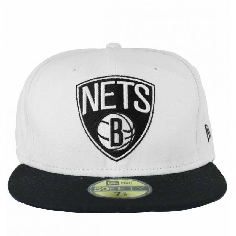New Era NBA 59Fifty Brooklyn Nets White Black Fitted Baseball Caps cab22323c774