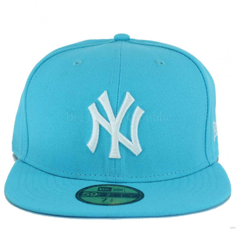 MLB 59Fifty NY New York Yankees Fitted Aqua White Fitted Cap